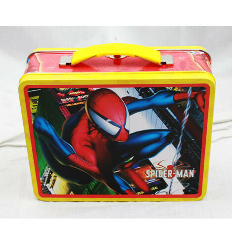 Amazing Spiderman Square Lunch Tin Box By Marvel For Boys//Kids Color Red Yellow