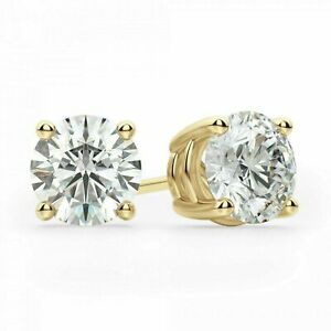 14kt-Solid-Yellow-Gold-Stud-VVS1-Earrings-Basket-Setting-Round-14k-Silicon-Backs