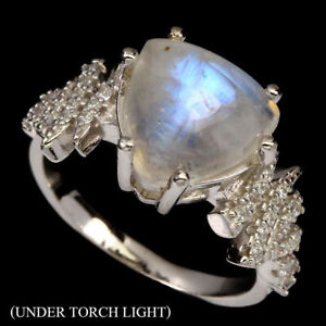 Sterling-Silver-Women-039-s-3-5-CT-Genuine-Trilliant-Fire-Moonstone-Ladies-Ring-Sz-6