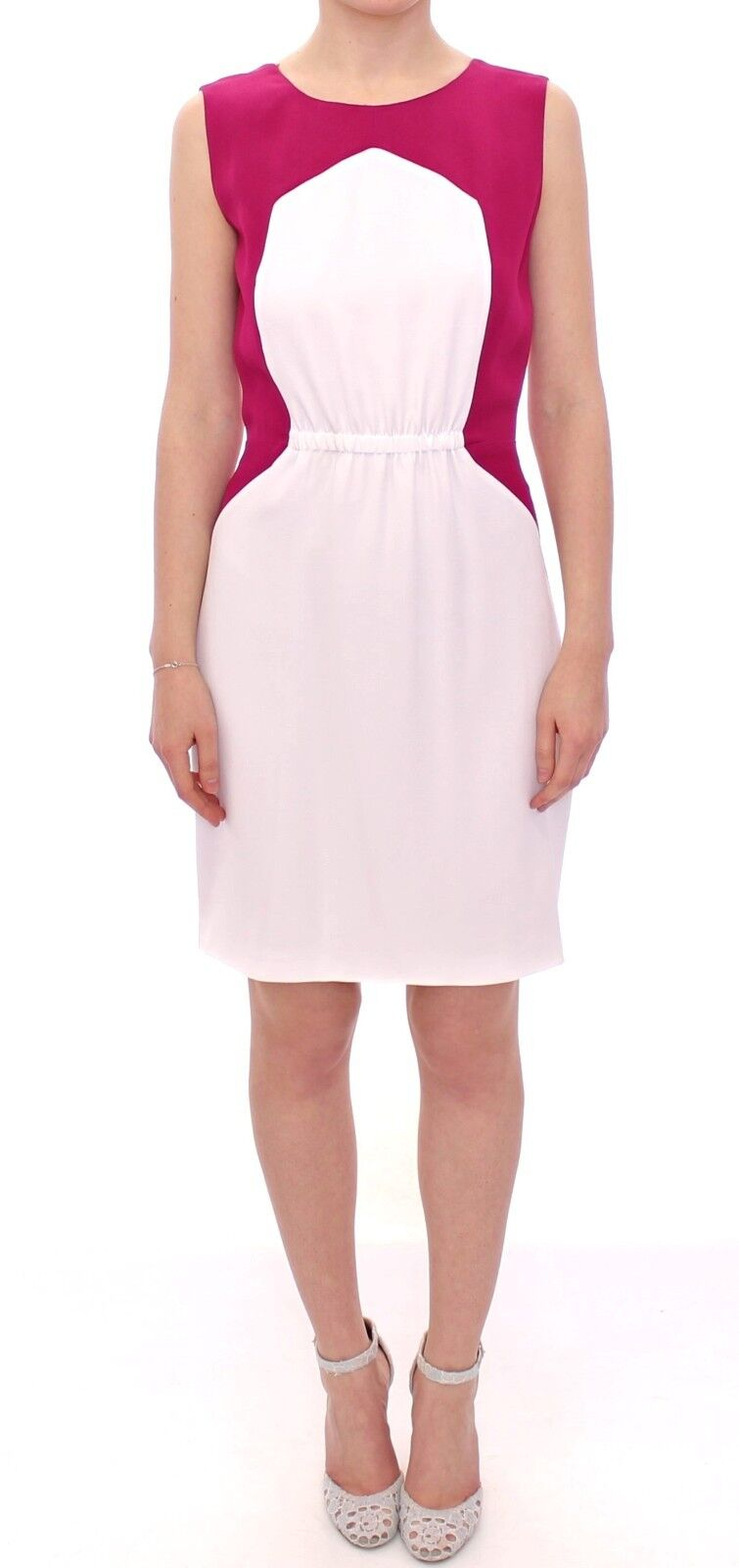 Neuf avec étiquettes COTE Blanc Rose Mini au-dessus du genou gaine droite robe IT44 US10 L