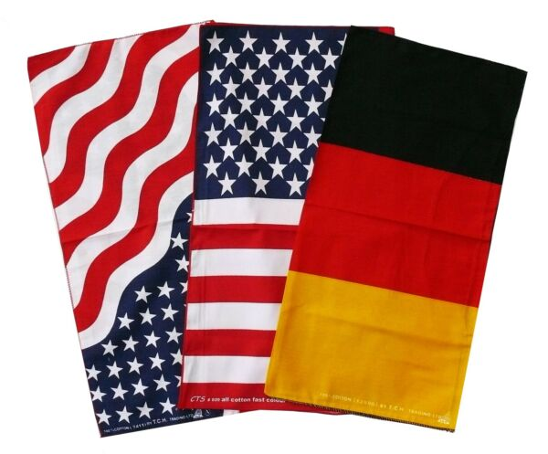 2019 Nuovo Stile Foulard Panno Testa Bandana 50x50 Cm: Usa Germania Bandiera Bandiera, Biker Panno Bw Grande Assortimento