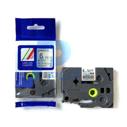 """Black on Matte Silver 6mm 8m 1//4 x26 /"""" Label Tape Compatible for Brother TZ-M911"""