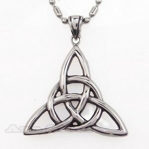 Silver-Celtic-Knot-Triquetra-Trinity-Stainless-Steel-Pendant-with-Chain-Necklace