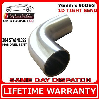 90 degree 1D Rad 304 Stainless Steel Exhaust Mandrel Bend 76mm SMOOTHFLOW 3/""
