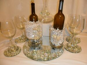 Wedding Party Tableware: Embellished Wine glasses, Decanter, Ice ...