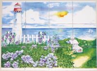 Light House Ceramic Tile Mural 12pcs 4.25 X 4.25 Kiln Fired Back Splash Decor
