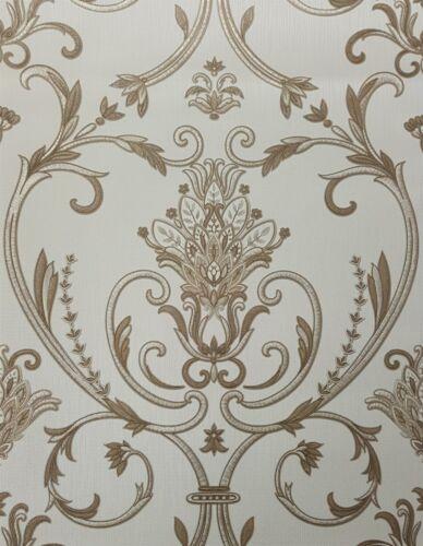 Isabella Damask Gold Wallpaper Floral Glitter Textured Italian Vinyl Debona