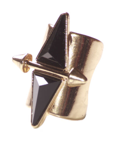 Zx79//187 Cleopatra Edgy Large Gold// Black Duo Pyramid /& Arrow//metal Hand Ring