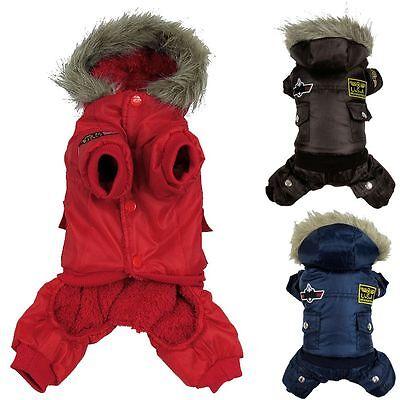 Dog Winter Warm Coat Pet Puppy Hoodie Jacket Costume Clothes Jumpsuit Sweater
