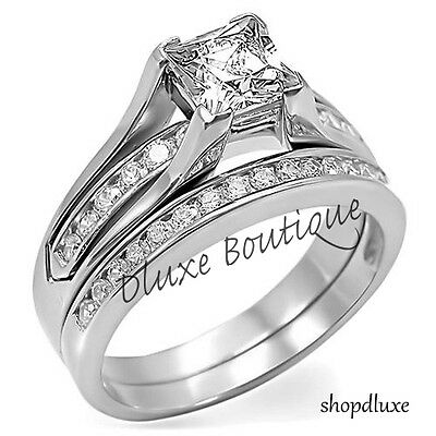 2.10 Ct Princess Cut AAA CZ Stainless Steel Wedding Ring Set Women's Size 5-10