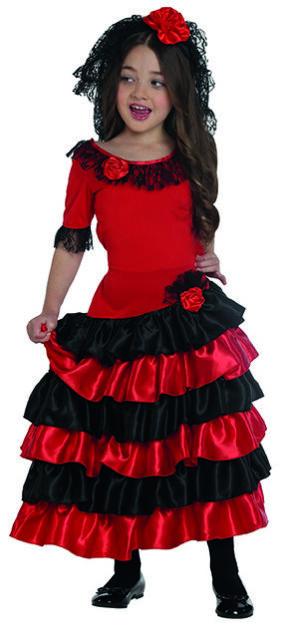 2188c7875 Flamenco Costume Spain Spanish Lady Dress for Children