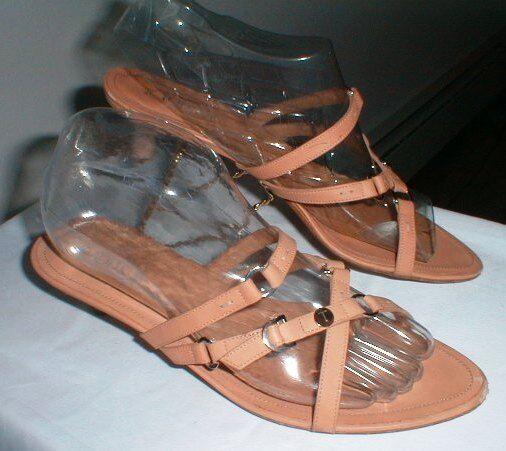 TOD'S STRAPPY TAN LEATHER KITTEN HEEL SANDAL Schuhe SIZE 10
