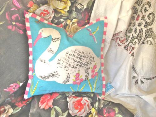 Designers Guild Kids Housse de coussin Paradise Swan Aqua avec bordure DG étiquette 40X40CM