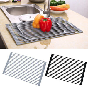 roll up drying rack stainless steel foldable over sink rack black 20 5 x 13 ebay. Black Bedroom Furniture Sets. Home Design Ideas