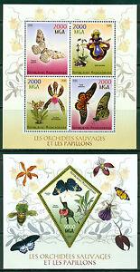 Butterflies-Orchids-Schmetterlinge-Madagascar-MNH-stamp-set-4val-sht-s-s