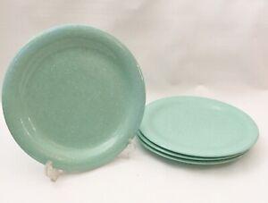 4-set-Dinner-Plates-Japan-Stoneware-vtg-oven-retro-mint-green-seafoam-Speckled