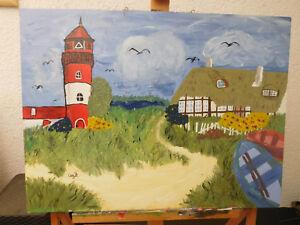 Leuchtturm-am-Meer-Olbild-60-x-80-cm-Gemaelde-Bild-signiert