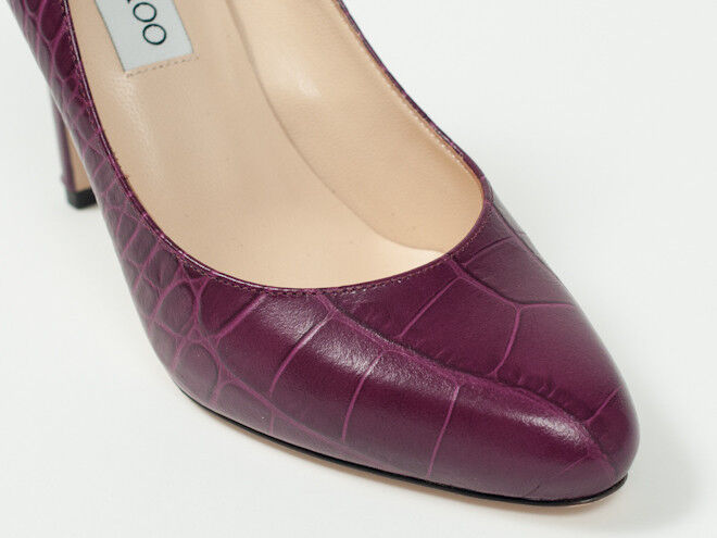 New  Jimmy Jimmy Jimmy Choo  Croc-Embossed Plum  Leather chaussures Pumps 40  US 10 f76001