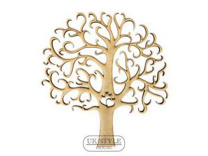 Family Tree 7 Names Personalised Heart 3mm MDF Laser Cut Wooden Craft Blank