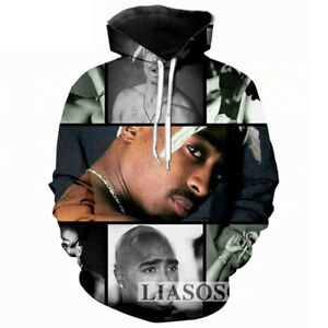 Women Men Tupac Shakur 2PAC Magazine 3D Print Casual Hoodies Pocket Sweatshirts