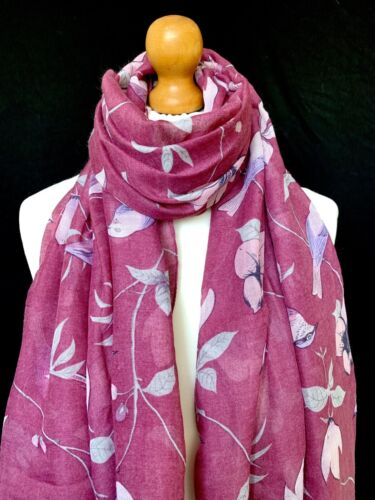 RASPBERRY RED BIRD AND FLORAL PRINT SCARF WRAP BEACH SARONG BIRD PRINT GIFT IDEA