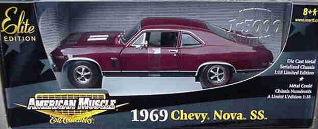 1969 CHEVROLET NOVA SS Maroon 1 18 ertl american muscle 33970
