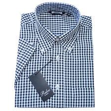 Relco Mens Gingham Check Short Sleeve Shirt 4 Colours Button Down Collar Mod Vtg