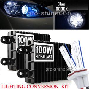 Details about Pair AC 100W Xenon HID Headlight Conversion Kit 9006 HB4  Bulbs 10000K Light Blue