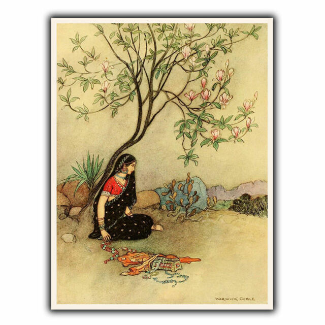 Vintage Indian Scene Metal Sign Wall Plaque Art Print Warwick Goble ...