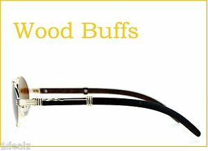640e683550ca New Oval Wood Buffs Unisex Sunglasses UV400 Lenses and light Gold ...