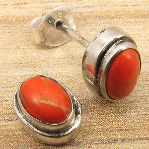 ORANGE-COPPER-TURQUOISE-MODERN-Stud-Post-Earrings-Silver-Plated-Jewelry