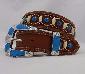 Tony Lama TURQUOISE CREEK Leather Belt Size 30 NWT C50489 List $88