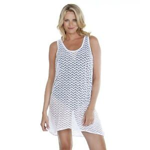 sleek clearance strong packing Details about Dotti Small Solid White Lace Tank Swimsuit Cover-Up Dress S  $52 NWT