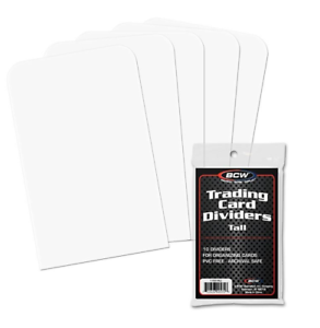 BCW Tall Trading Card Dividers Tall For Visibility 50 Sits Above Toploads