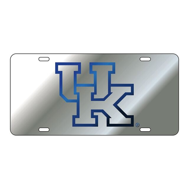 uk university of kentucky wildcats silver mirrored license plate