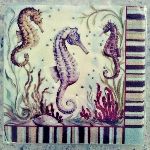 Nautical//Tropical//Holiday//Humorous Beverage//Luncheon Napkins Seahorse Seashell