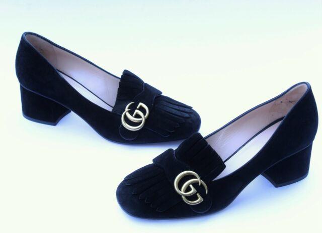 Size 39.5 Gucci Marmont Fringe GG Black