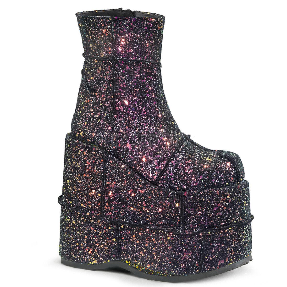 DEMONIA STACK-201G 7  Wedge Platform Black Multi Glitter Womens Ankle Gogo Boots