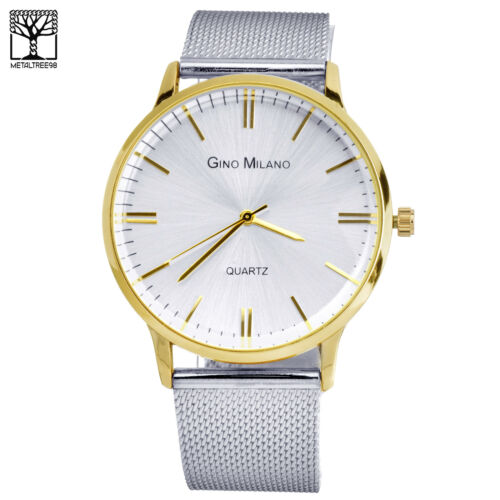 Men's Two Tone Gold Silver Plated Metal Mesh Band es WM 7974 TT