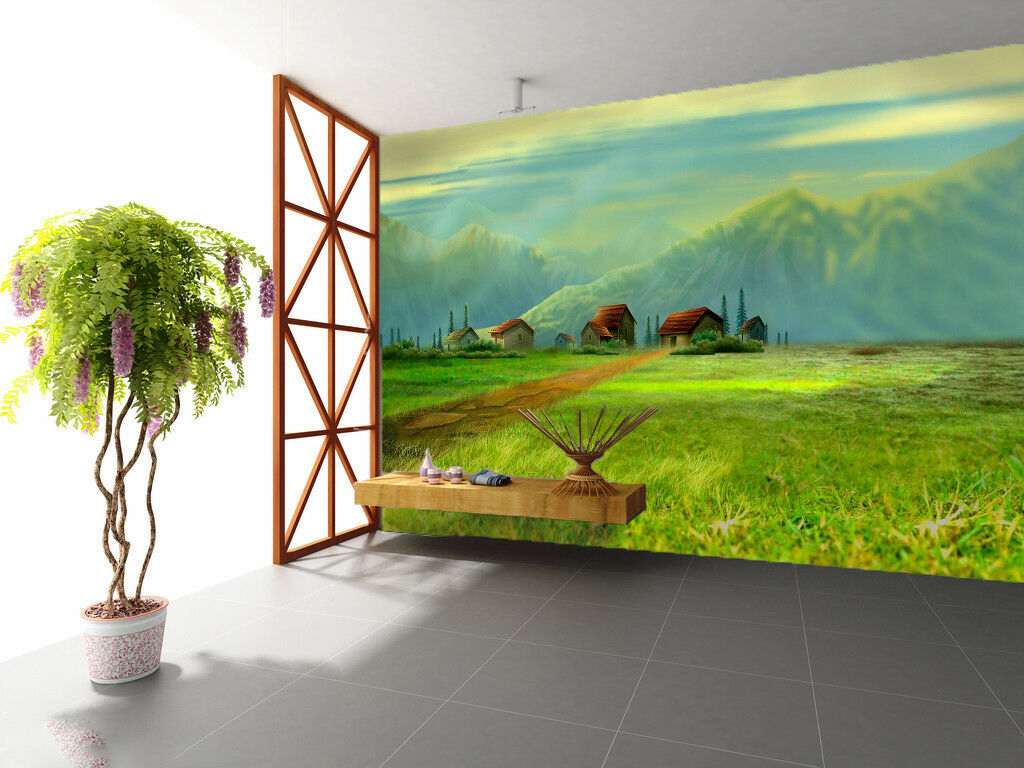 3D House Grassland Wallpaper Murals Wall Print Wallpaper Mural AJ WALL AU Lemon