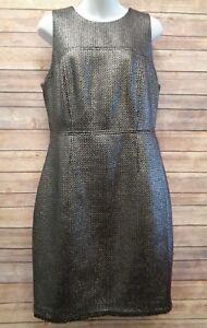 Banana-Republic-12-Metallic-Silver-Womens-Dress-Lined-Sleeveless-NEW-158-Large