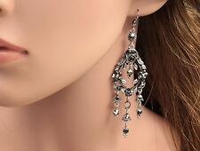 Dangle jet black crystal leaf emboss lady jewelry silver plate hook earrings B40