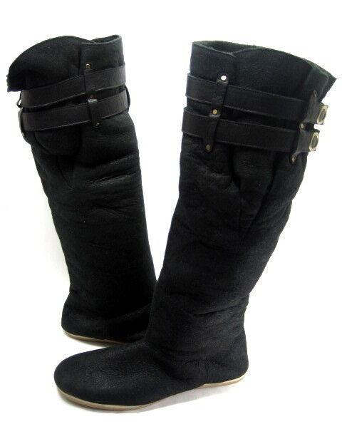 FIEL WOMEN'S SPAATZ KNEE-HIGH BOOT BLACK SHEARLING/LEATHER RUBBER SOLE SIZE 8 M