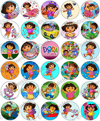 30 x Dora the Explorer Party Collection Edible Rice Wafer Paper Cupcake Toppers