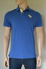 NEW Abercrombie & Fitch Classic Big Icon Polo Shirt Blue Moose Logo L