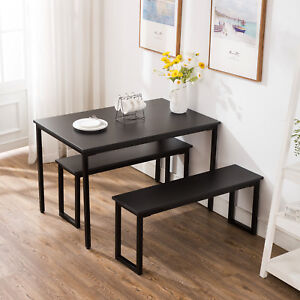 Cool Details About 3 Piece Dining Table Set 2 Bench Chairs Wood Rectangle Kitchen Room Furniture Pabps2019 Chair Design Images Pabps2019Com