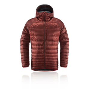 Details about Haglofs Mens Essens Hooded Down Jacket Top Red Sports Outdoors Full Zip Warm