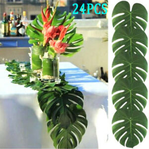 24-x-Tropical-Hawaiian-Green-Leaves-Luau-Moana-Party-Table-Decorations-Bulk-New