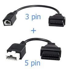 3 Pin Adapter & 5 Pin Adapter to 16 Pin OBD2 OBDII Connector for Honda