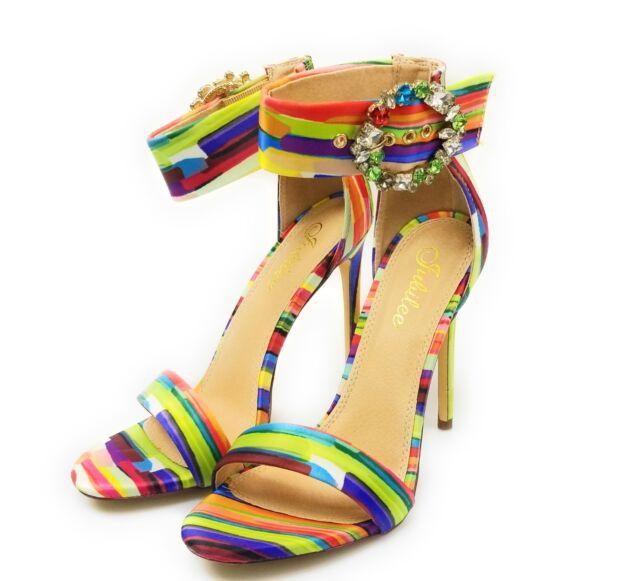 Womens Open Toe Ankle Strap Rhinestone Buckle Stiletto Heeled Liliana Irina-22